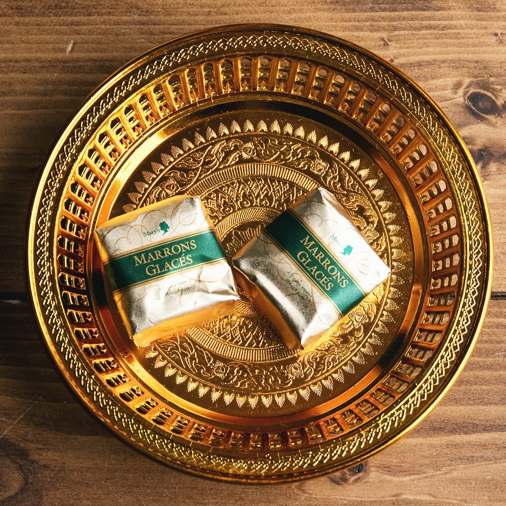 タイのお供え入れ 飾り皿 ゴールドとシルバー〔約16.5cm〕の個別写真