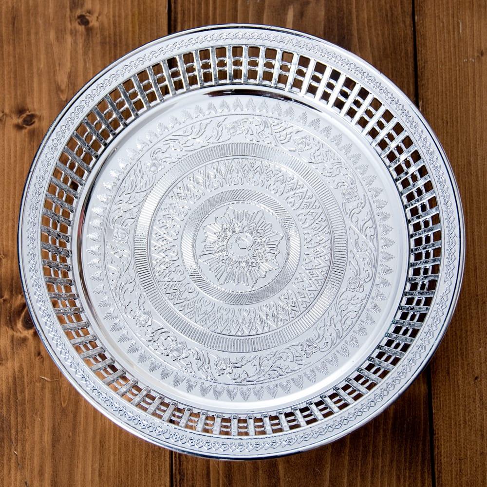 タイのお供え入れ 飾り皿 ゴールドとシルバー〔約23.5cm〕の個別写真