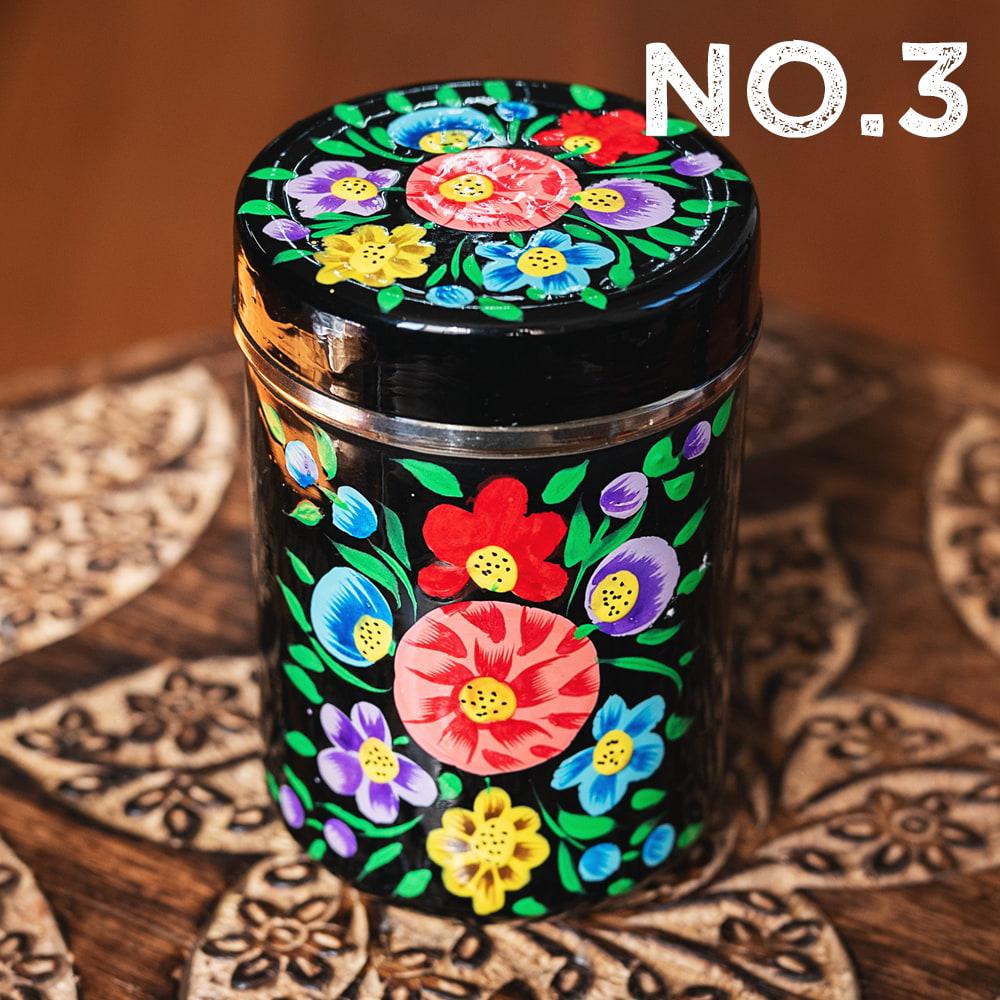 手描きカシミールペイントのケース 茶筒 スパイスケース レトロテイストな更紗模様〔直径:約6.3cm x 高さ:約9.7cm〕の個別写真
