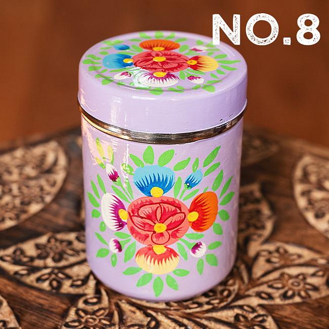 手描きカシミールペイントのケース 茶筒 スパイスケース レトロテイストな更紗模様〔直径:約6.3cm x 高さ:約9.7cm〕の選択用写真