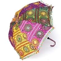 インド・ラジャスタンの刺繍傘- 直径80cm程度 花と波模様