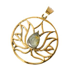 蓮の花の天然石ゴールドペンダントトップ 【チェーン付き】  -直径約4cmの選択用写真