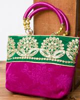 インドのゴージャスハンドバッグ - 緑地フラワー の個別写真