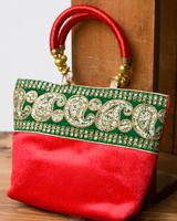 インドのゴージャスハンドバッグ - 緑地ペイズリー の個別写真