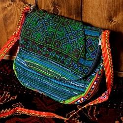 モン族刺繍のショルダーバッグ - 青系