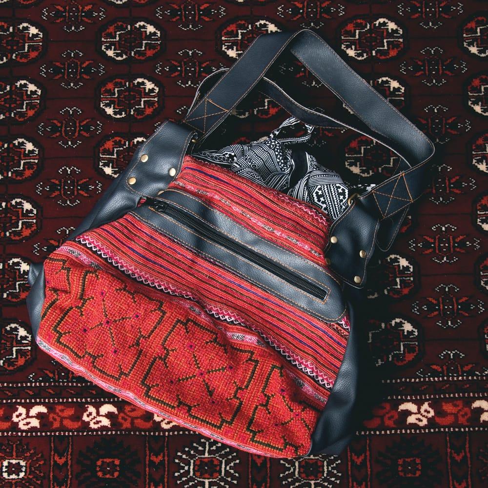 モン族刺繍とレザーのトートバッグの個別写真