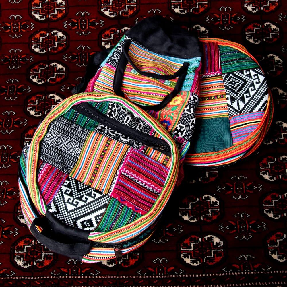 モン族刺繍 まんまる折りたたみ式2Wayトラベルバッグの個別写真