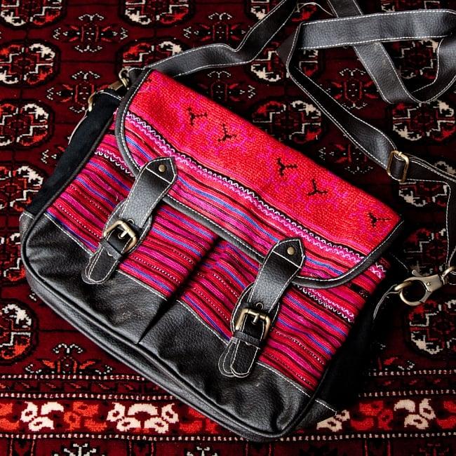 モン族刺繍とレザーのショルダーバッグの選択用写真