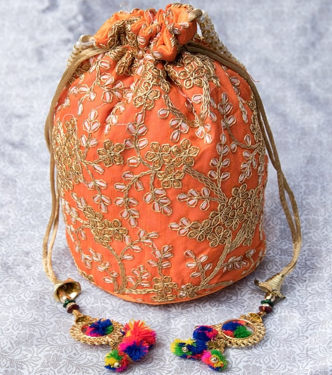インドのきらきらミニバッグ・サリー等へオススメの巾着 - オレンジ
