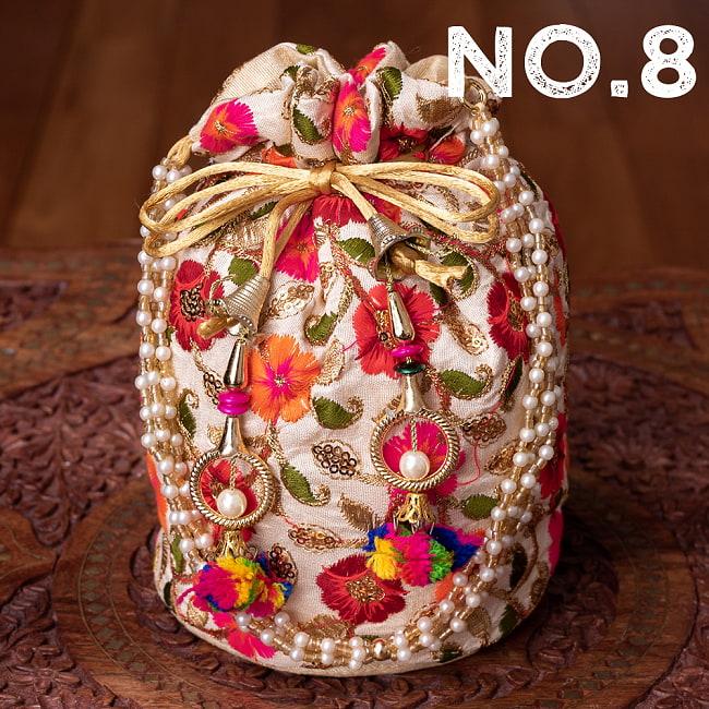 インドのきらきらミニバッグ・サリー等へオススメの巾着 ゴールド&フラワー更紗刺繍系の選択用写真