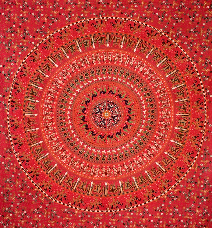 マルチクロス - 円形 花柄【約200cm×約220cm】の個別写真
