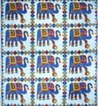 マルチクロス - 格子 象とボール【約205cm×約230cm】の個別写真