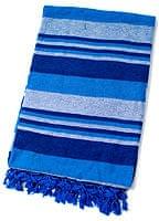 〔235cm×150cm〕カディコットン風マルチクロス - ストライプ柄 ブルー