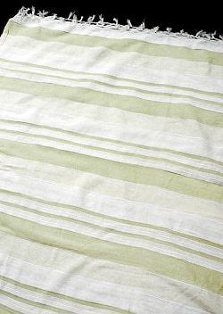 〔235cm×150cm〕カディコットン風マルチクロス - ストライプ柄 白×薄緑
