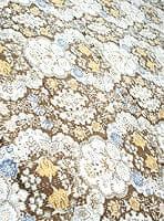 〔約150cm×224cm〕ラリーキルト 手作りカンタ刺繍のソファー&ベッドカバー - 茶色