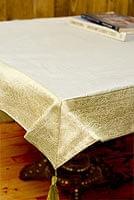〔約105cm×105cm〕インドの金糸入りテーブルカバー ベージュホワイト