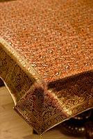 〔約105cm×105cm〕インドの金糸入りテーブルカバー - オレンジ×ペイズリー