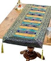 〔約180cm×40cm〕インドの金糸入りテーブルランナー 紺色×マルチカラー