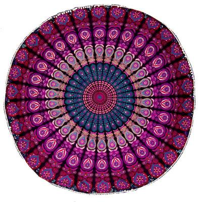 マンダラ柄ラウンドブランケット レジャーシート&ソファーカバー・テーブルクロス【約180cm】の個別写真