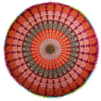 マンダラ柄ラウンドブランケット レジャーシート&ソファーカバー・テーブルクロス【約150cm】の個別写真
