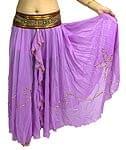 ベリーダンス用スパンコールスカート【ゴムタイプ】 - 薄紫