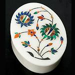 【楕円型】マーブルストーンの小物入れ[約10.5cm]の個別写真