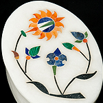 【楕円型】マーブルストーンの小物入れ[約8cm]の個別写真