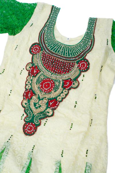 サフェードのパンジャビドレス 3点セット 白×緑の個別写真