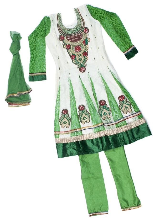 サフェードのパンジャビドレス 3点セット 白×緑の写真