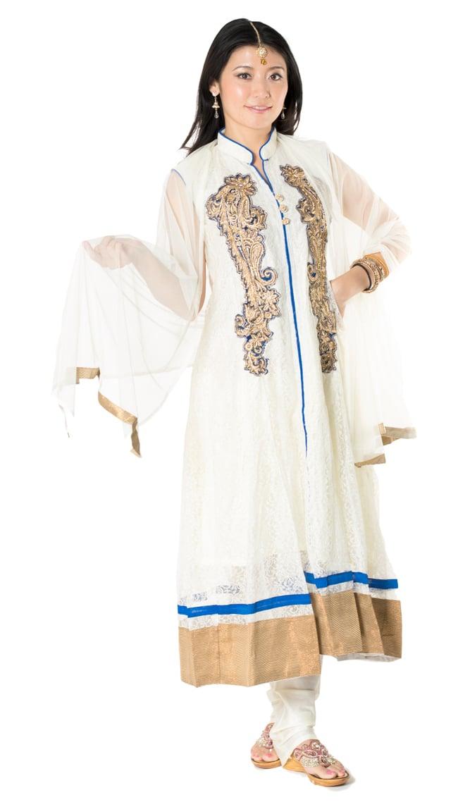 サフェードのパンジャビドレス 3点セット 白×青
