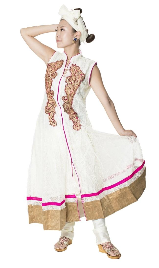 サフェードのパンジャビドレス 3点セット 白×ピンク