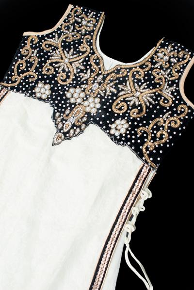 サフェードのパンジャビドレス 3点セット 白×黒の個別写真