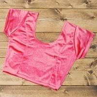 ベルベットのストレッチチョリ - サーモンピンクの個別写真