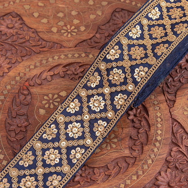 【全7色】約9m チロリアンテープ ロール売 - 金糸が美しい 更紗模様のゴータ刺繍〔幅:約5.8cm〕 - ハンデラバードの選択用写真