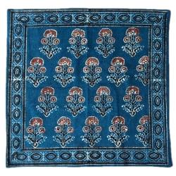 木版染めアジュラックの伝統模様クッションカバー ブルーの個別写真