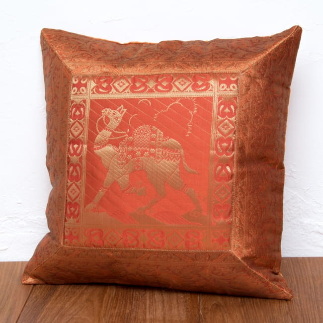 金糸入りのインド伝統柄クッションカバー 駱駝と孔雀の選択用写真