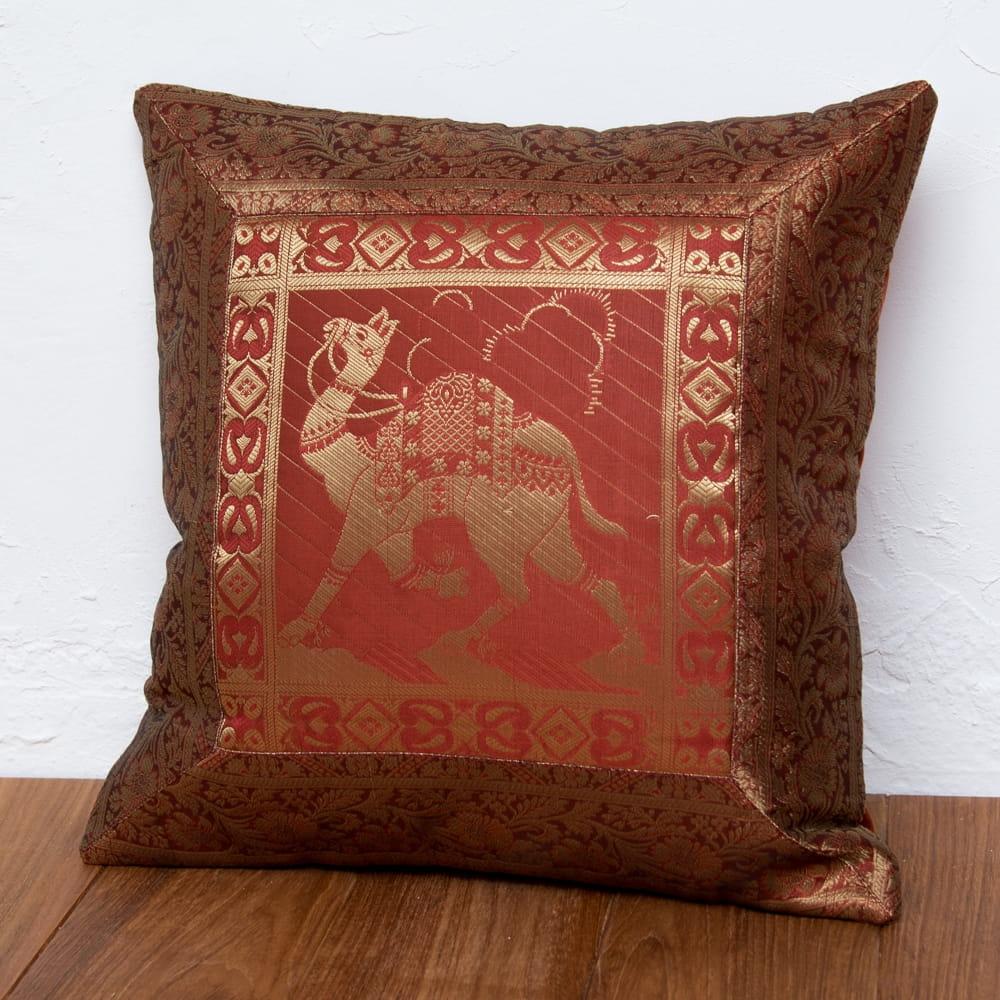 金糸入りのインド伝統柄クッションカバー 駱駝と孔雀の個別写真