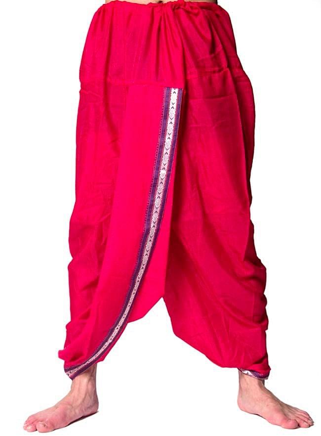 ドーティ・ドゥパッタセット - 赤の写真2-ドーティ(ズボン)を前から撮影しました\