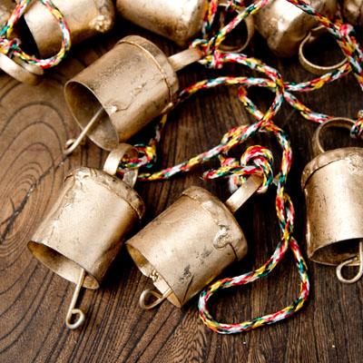 ドアチャイムなどへ!手作りのやさしい音色 インドの銅製カウベル-【2.2cm*2cm*120cm】の選択用写真
