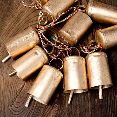 ドアチャイムなどへ!手作りのやさしい音色 インドの銅製カウベル-【5cm*3.5cm*120cm】の選択用写真