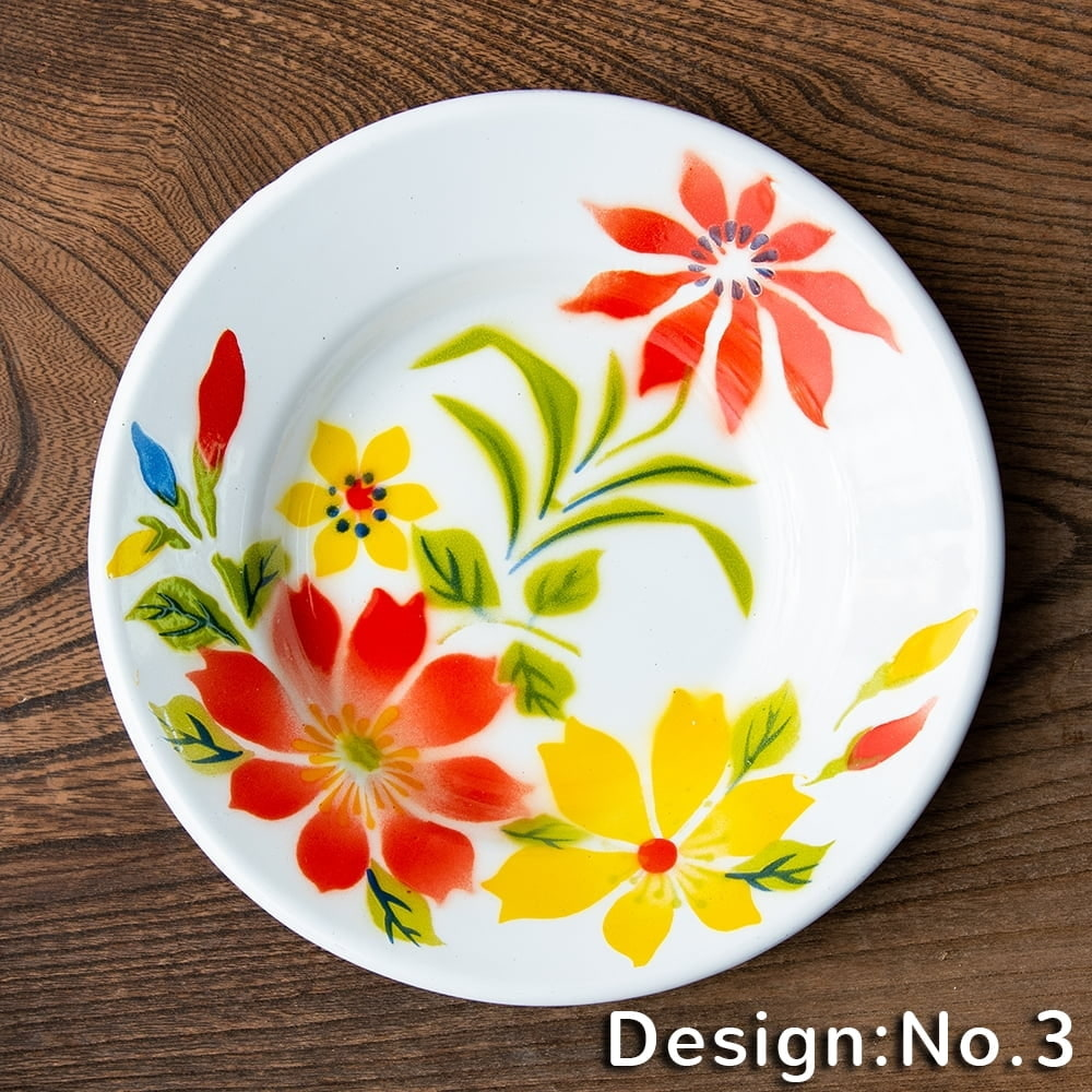 タイのレトロホーロー 花柄飾り皿 RABBIT BRAND〔約18cm×約2.7cm〕の個別写真