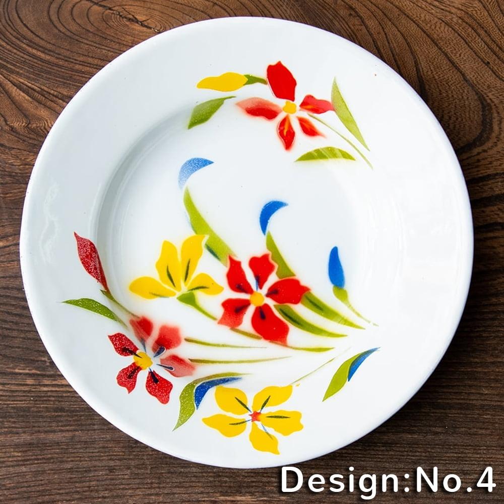 タイのレトロホーロー 花柄飾り皿 RABBIT BRAND〔約20.5cm×約3cm〕の個別写真