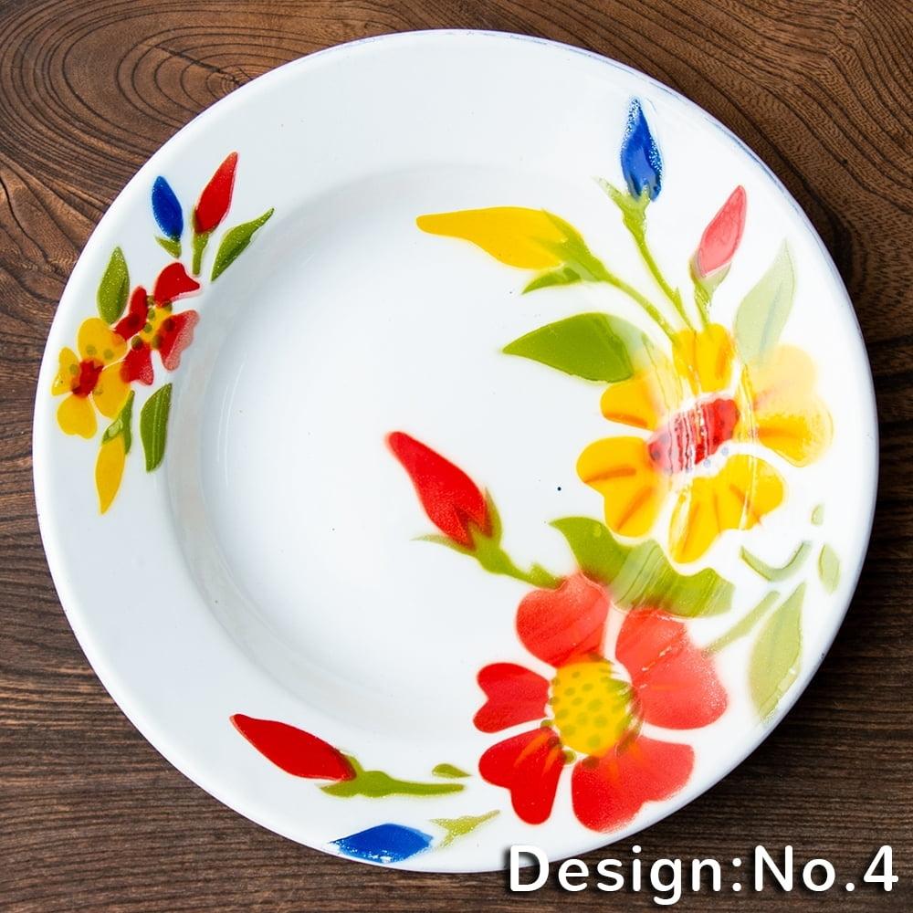 タイのレトロホーロー 花柄飾り皿 RABBIT BRAND〔約23cm×約3.2cm〕の個別写真