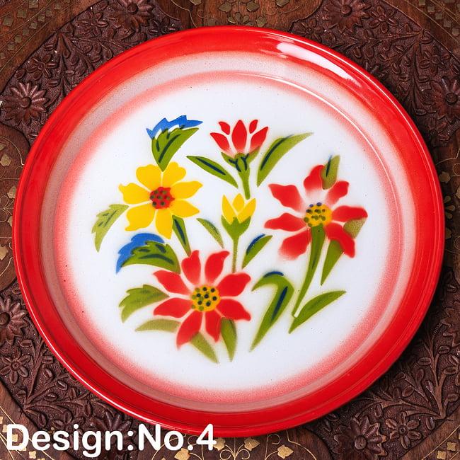 タイのレトロホーロー 花柄飾り皿・トレー RABBIT BRAND〔約25.7cm×約2.5cm〕の選択用写真