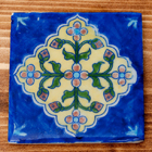 〔10cm×10cm〕ブルーポッタリー ジャイプール陶器の正方形デコレーションタイル - 菱型唐草系の個別写真