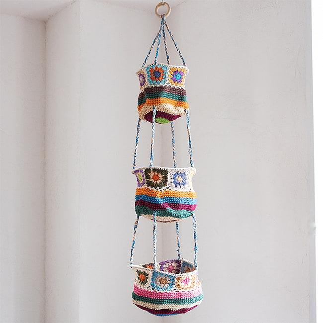 手編みコットンのハンギング収納【3段】の選択用写真