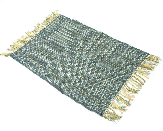 インドコットンの手織りラグマット【約65cm×約42cm】 - 灰色の写真