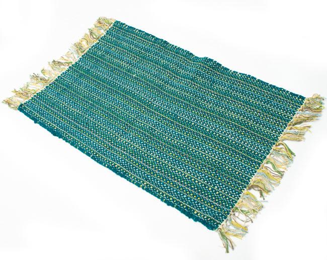 インドコットンの手織りラグマット【約65cm×約42cm】 - ターコイズグリーンの写真