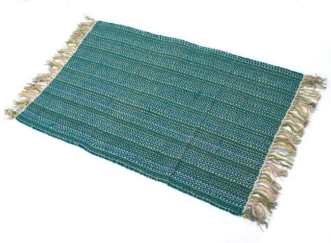 インドコットンの手織りラグマット【約100cm×約60cm】 - ターコイズグリーン の写真