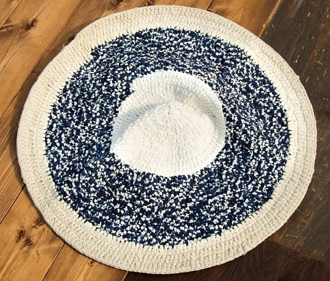 インドのコットン手織りラグマット まる型【中心が白】